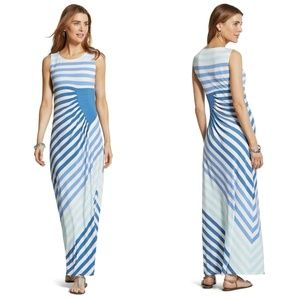 Chicos Seaside Striped Maxi Dress M Blue NEW
